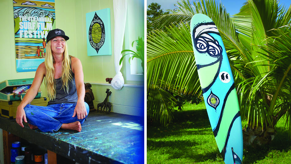 Heather Brown in Studio and Surfboard